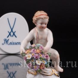 Статуэтка из фарфора Девочка с корзиной цветов, миниатюра, Meissen, Германия, сер. 19 - нач. 20 вв.